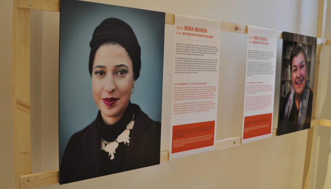 «Er jeg modig? Jeg prøver så godt jeg kan. Vi har alle et ansvar for å være modige. Det handler om retten til å stå opp for det man mener er riktig, og støtte andre i deres kamp,» sier Skeiv Verden-leder Nora Meshen i intervjuet som følger hennes portrett.