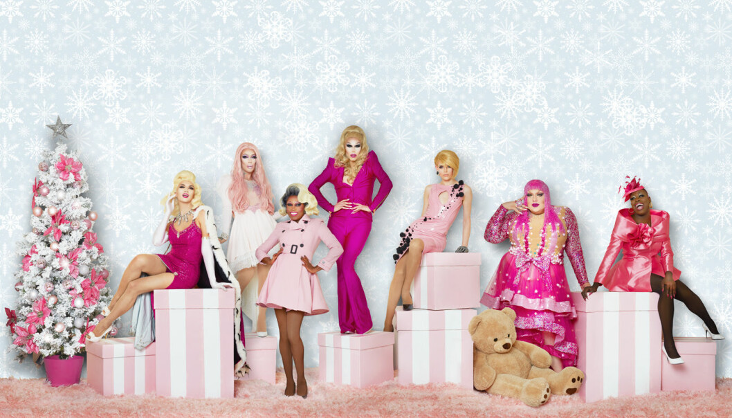 Christmas Queens med (f.v.) Manila Luzon, Kameron Michaels, Asia O'Hara, Sharon Needles, Blair St. Clair, Eureka O'Hara og Bob The Drag Queen. Foto: Voss Events.