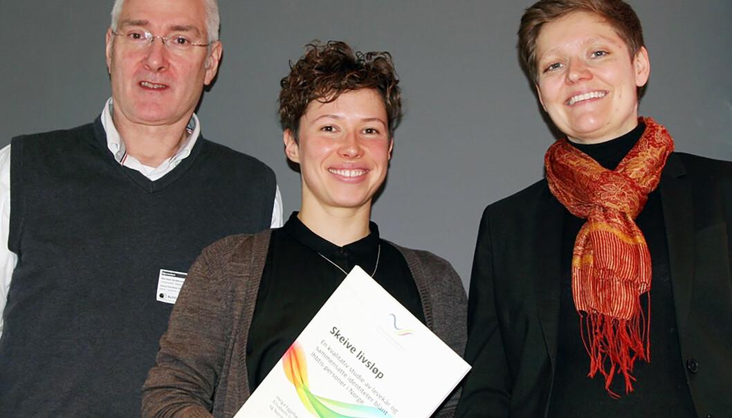 Norman Andressen, Elisabeth Stubberud og Helga Eggebø har samarbeidet om forundersøkelsen ‹‹Skeive Livsløp››. Foto: Randi N. A. Bakke.