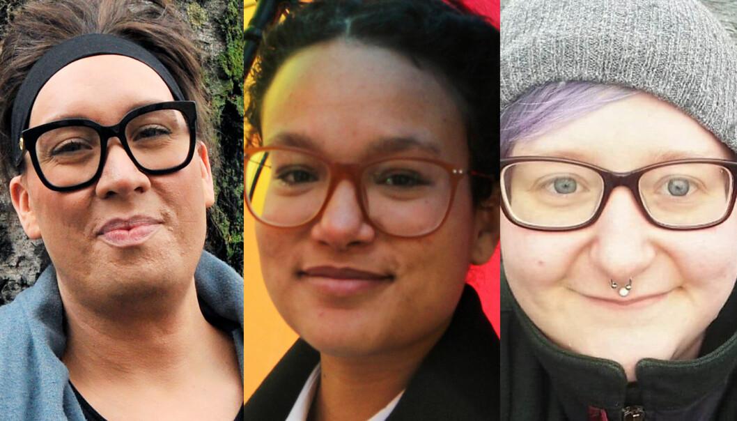 Delta og gå i 8. mars-toget 2020, for lesbiske og skeive kvinner i Polen og andre land i verden, oppfordrer (f.v.) leder i FRI Oslo og Viken, Nils-Erik Flatø, generalsekretær i Skeiv Verden, Lisa Weldehanna og leder i Skeiv Ungdom Oslo og Viken, Filip Sommerseth.