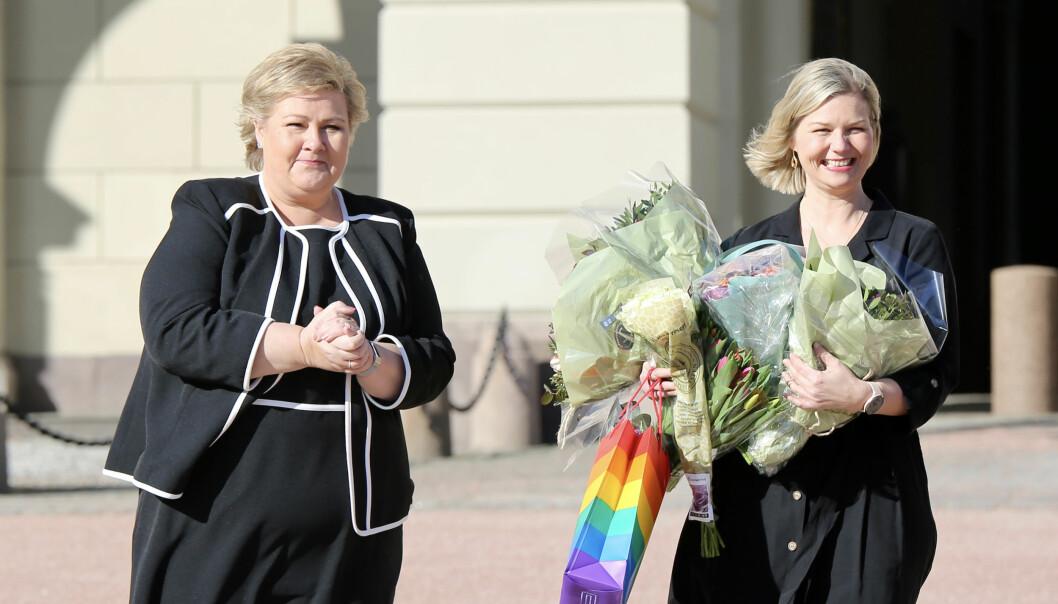 Statsminister Erna Solberg og kunnskaps- og integreringsminister Guri Melby.