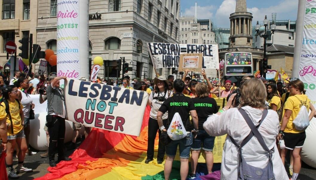 Under London Pride-paraden i 2018 demonstrerte lesbiske mot at Stonewall likestiller transrettigheter med homofile og  lesbiskes rettigheter.
