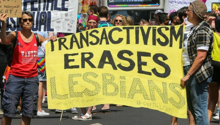 Demonstrantene under London Pride- paraden i 2018 hevdet at kampen for trans- rettigheter går på bekostning av lesbiskes synlighet og rettigheter.