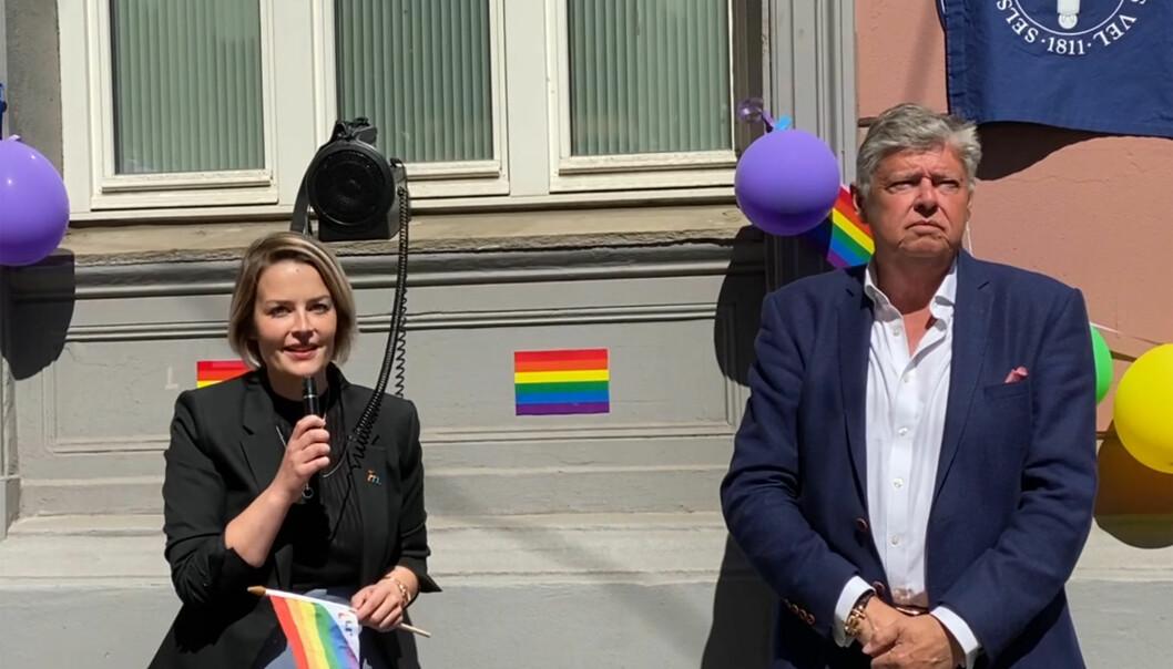 FRI-leder Ingvild Endestad og Ole Rikard Høisæther, generalsekretær i Oslo Byes Vel.