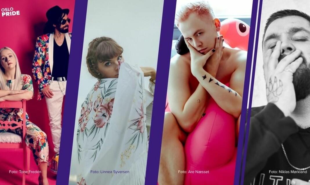 Annsofi & Me, Liive, Ferdinand og Big Daddy Karsten konkurrerer om å bli årets Oslo Pridelåt-artist.