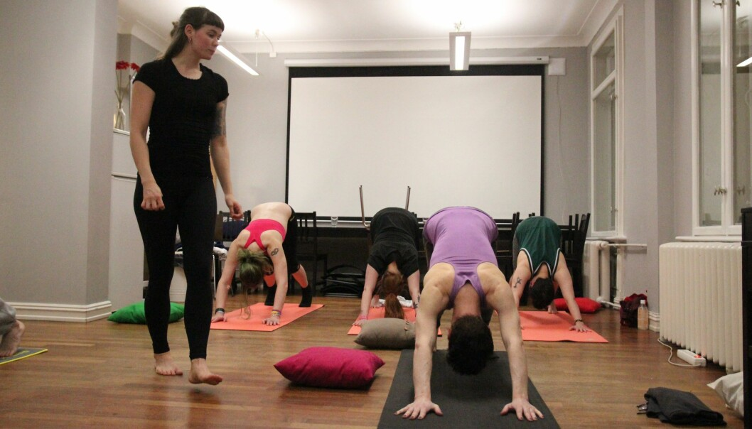 Yogatimene til instruktøren Silje Alnes er på et relativt lavt nivå og enkle å følge.