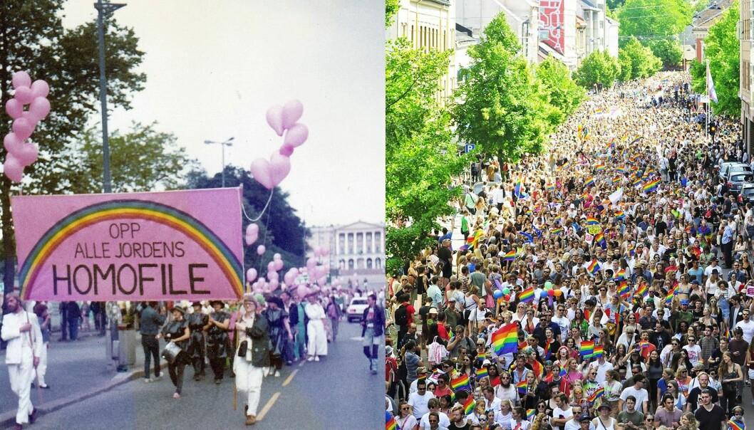 Homodagene 1984 og Oslo Pride 2017.