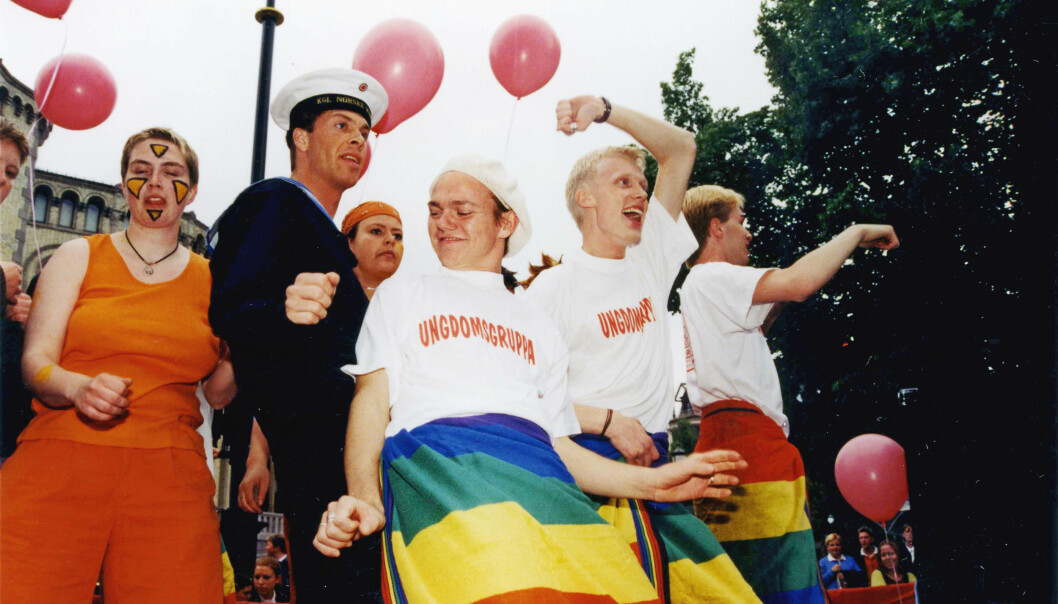 1997: Jan Benny Sulutvedt (nr 2 f.h.) var leder av Ungdomsgruppa (nå Skeiv Ungdom) i tre år.