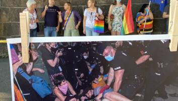 Protesterer mot vold i Polen
