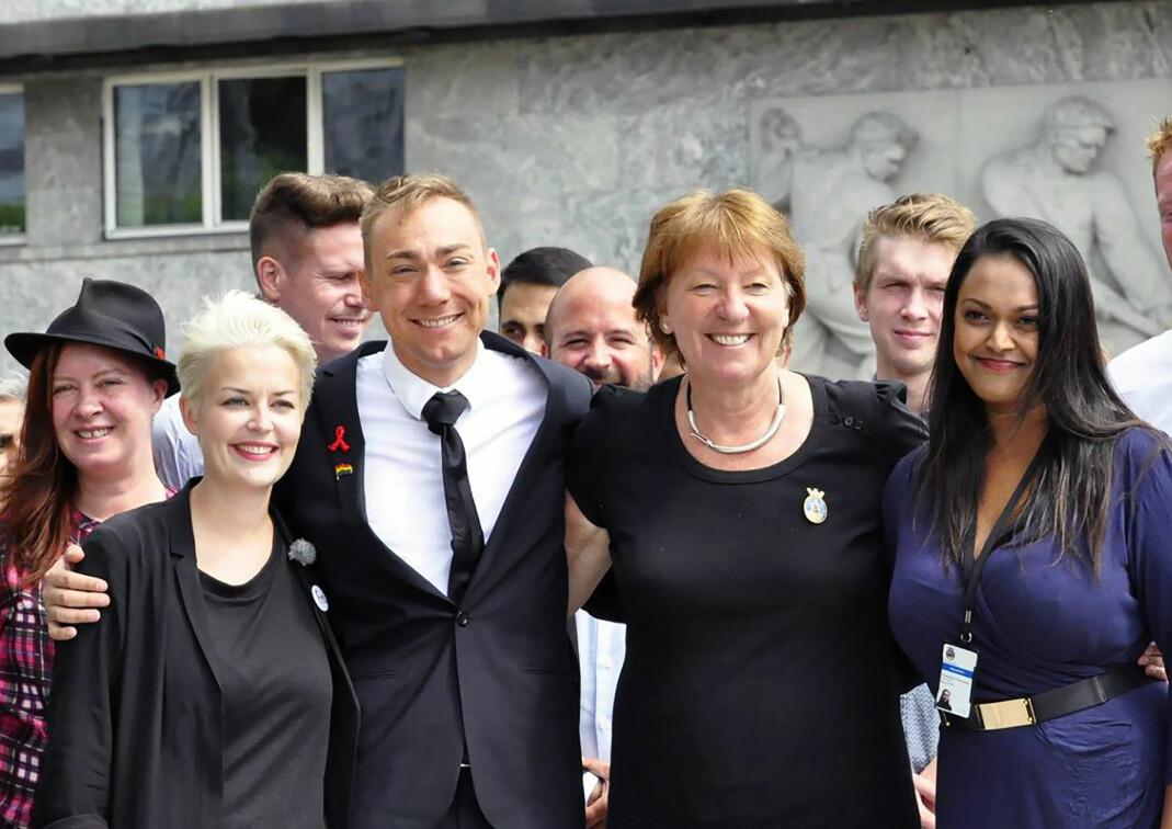 Hans Heen Sikkeland, her sammen med FRI-leder Ingvild Endestad, ordfører i Oslo, Marianne Borgen og varaordfører Kamzy Gunaratnam.