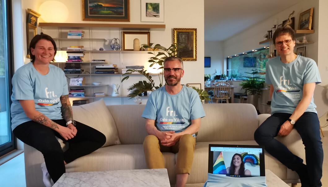 Drammen Pride-komiteen 2020, fra venstre: Marianne Holmquist. Øyvind Lundberg Nilsen, Zaira Lo Monaco (på skjerm) og Egil J. Bye.