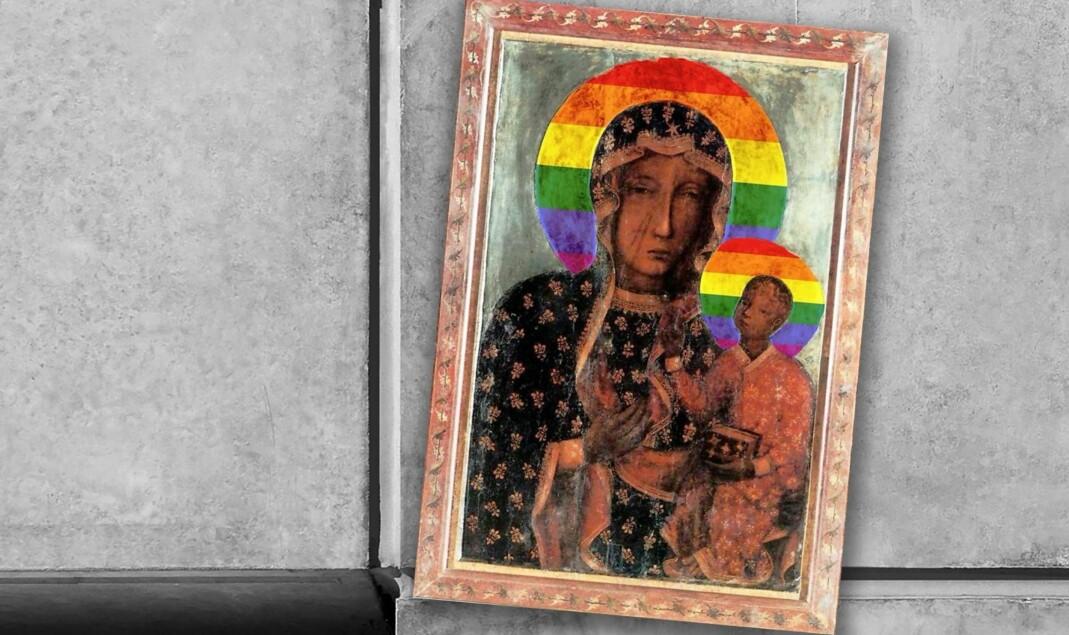– Å utstyre jomfru Maria med regnbueglorie er ikke en kriminell handling sier FRI-leder Inge Alexander Gjestvang.