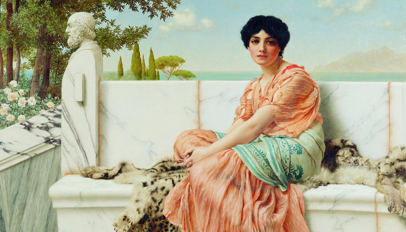 Kun en brøkdel av Sapfos dikt har overlevd, og bare ett enkeltstående og komplett dikt, en kjent som «Hymne til Afrodite», som var kjærlighetsgudinnen og den guddommen Sapfo skrev mest om. Maleriet «Reverie», også kjent som «I Sapfos dager», er malt av John William Godward i 1904.