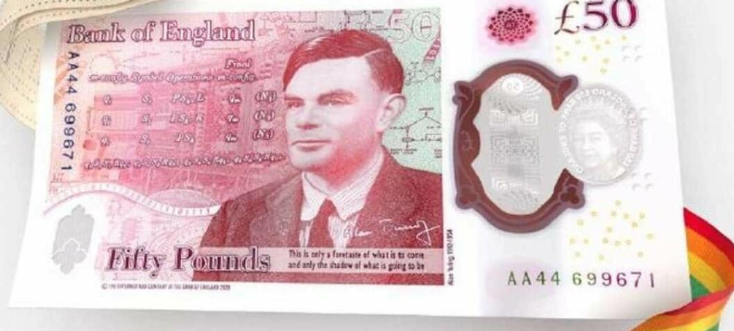 Alan Turing hedres på 50 pundseddel