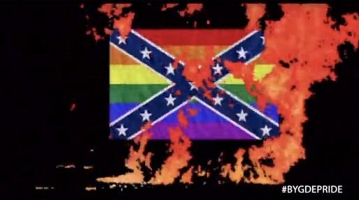 Bygdepride blander regnbueflagg og sørstatsflagg i et ironisk forsøk på å latterliggjøre homofobi i rånermiljøet. Bomskudd mener Salam
