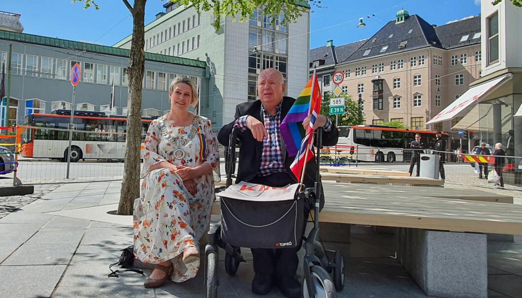 Bergens ordfører Marte Mjøs Persen og Kenneth Brophy.
