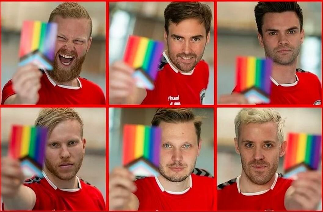 Raballder-spillere med regnbuekortet laget spesielt til kampanjen.