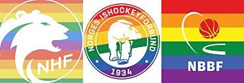 Flere forbund har pyntet sine logoer med regnbuefarger etter initiativ fra Raballder Håndball. Her: Norges Håndballforbund, Norges Ishockeyforbund og Norges Basketballforbund.