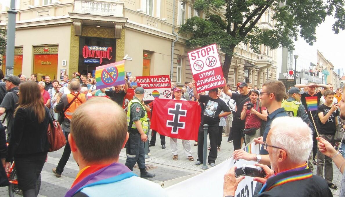 Pride-arrangement rundt om i Europa og ellers i verden møter ofte motstand fra befolkningen og trenger ekstra beskyttelse. Bildet er fra 27. juni 2013 – Vilnius.