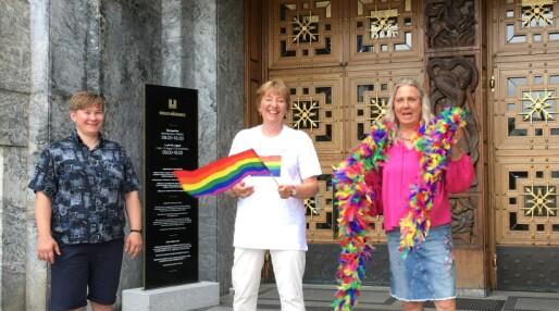 Oslo Rådhus heiste prideflaggene: – Disse flaggene kan ikke stjeles!