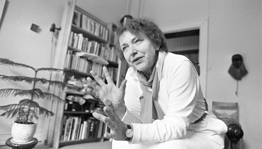 Giske Anderson hjemme i leiligheten hun delte med Kirsten Ohm i Huitfeldtsgate i Oslo, 1984.