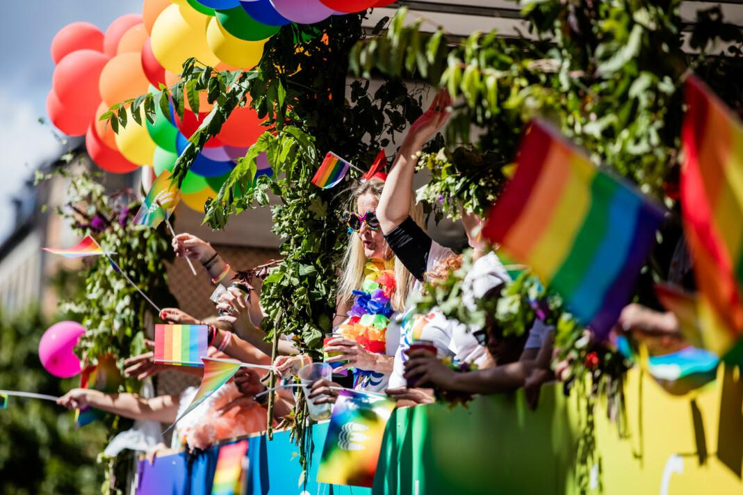 I år blir det skandinavisk WorldPride i København og Malmø. Bilde fra Copenhagen Pride 2017.