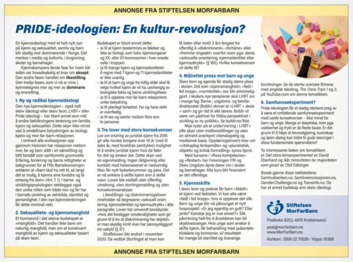 Slik så annonsen fra Stiftelsen MorFarBarn ut. Den har stått på trykk i Bergens Tidene, Aftenposten, VG, Adresseavisen og Fædrelandsvennen.