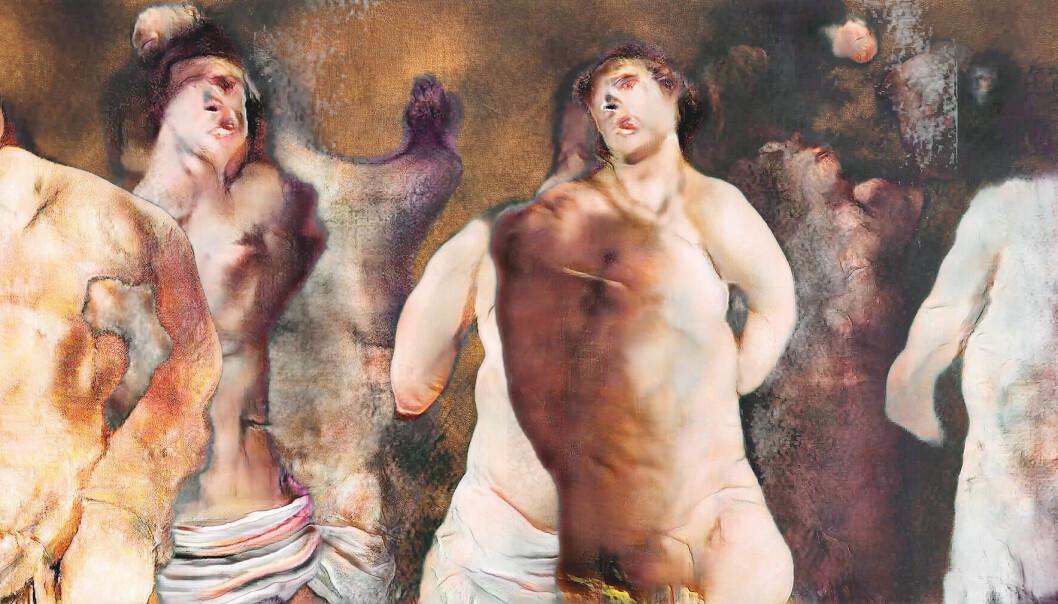 Trygve Skogrand stiller ut verket «The Ecstasy of St Sebastian (Guessing on Pain)», en ai-generert videoloop basert på barokke malerier.