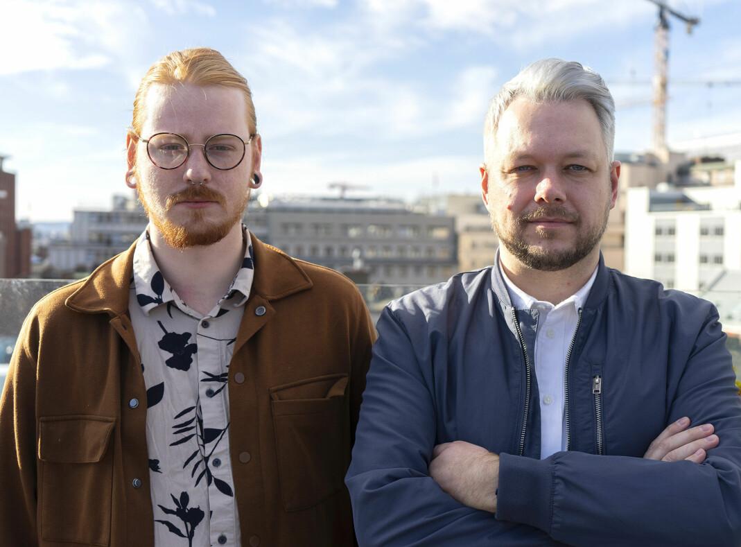 Odd Thomassen, leder i Skeiv Ungdom (t.v) og Inge Alexander Gjestvang, leder i Foreningen FRI.